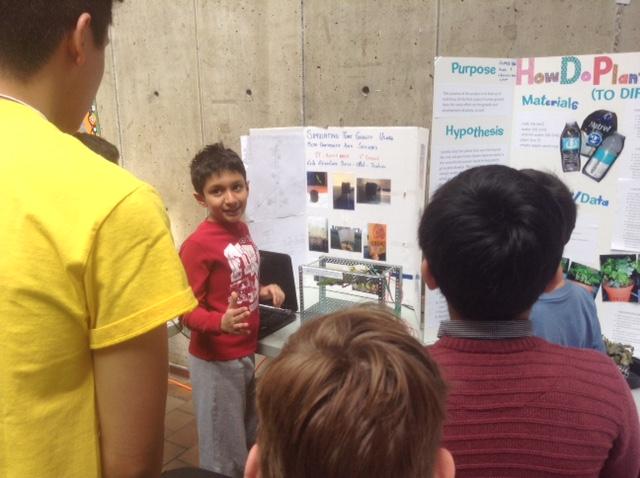 Artash explaining at Science Fair