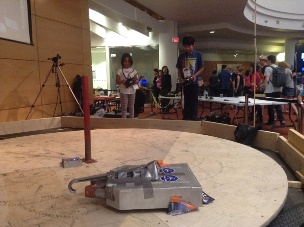 Arushi with Remote with Rover in the rink