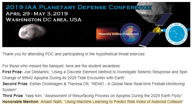 Learnings from the 2019 Planetary Defense Conference: Machine
